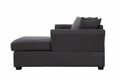 Soft Fabric Sofa, L-Shape Extra Wide Chaise Grey