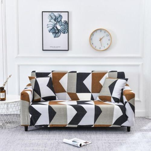 String printed elastic stretch slipcover sectional corner