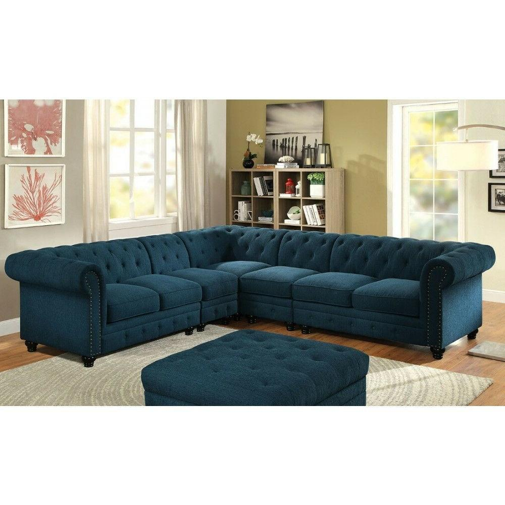 Stunning Sectional Sectionals Dark Teal Fabric Tufted Sofa