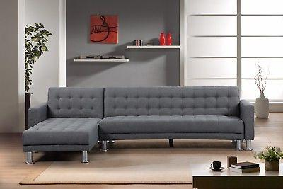 stylish dark grey polyester fabric chaise sectional