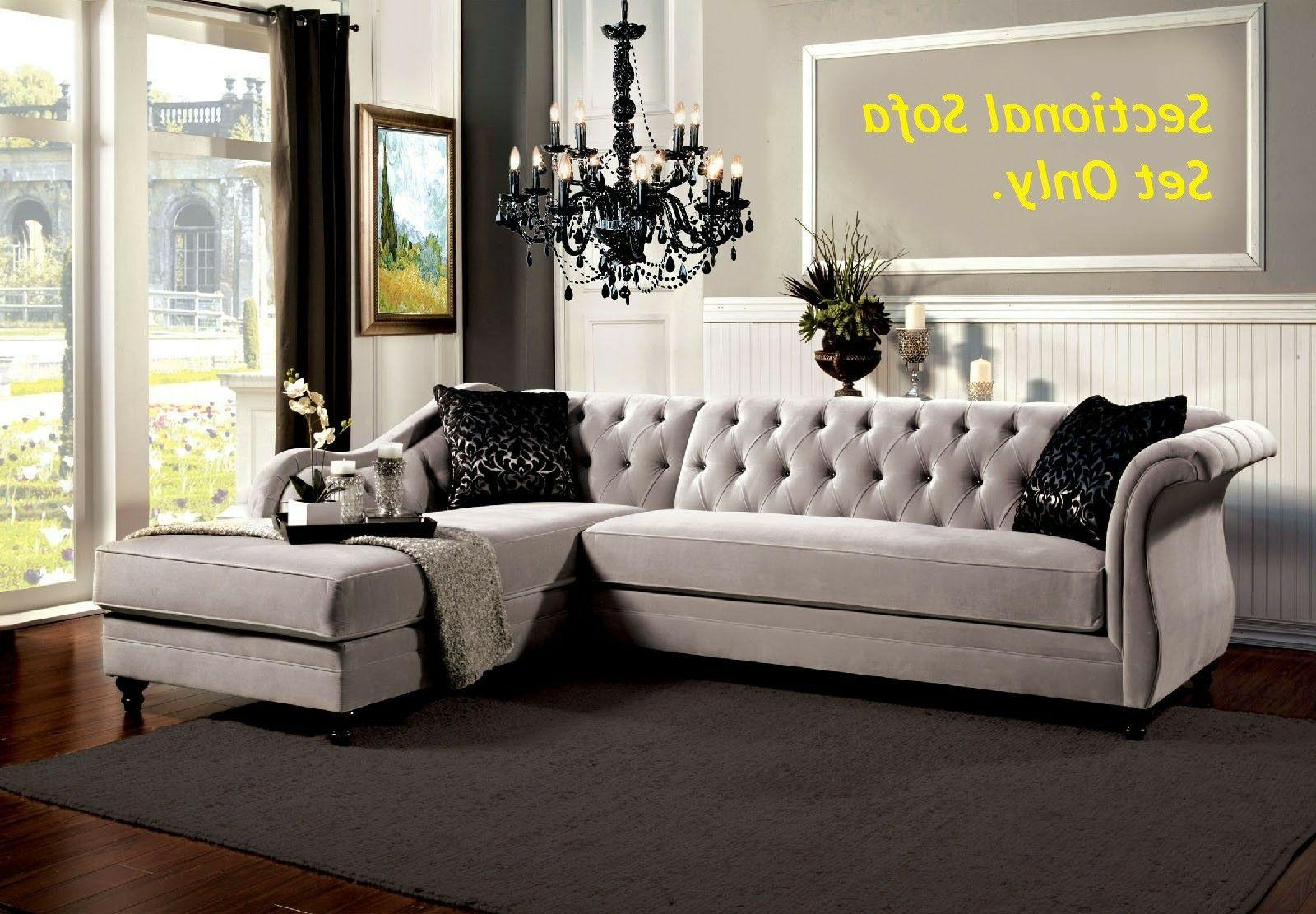 traditional formal tufted warm gray fabric sectional