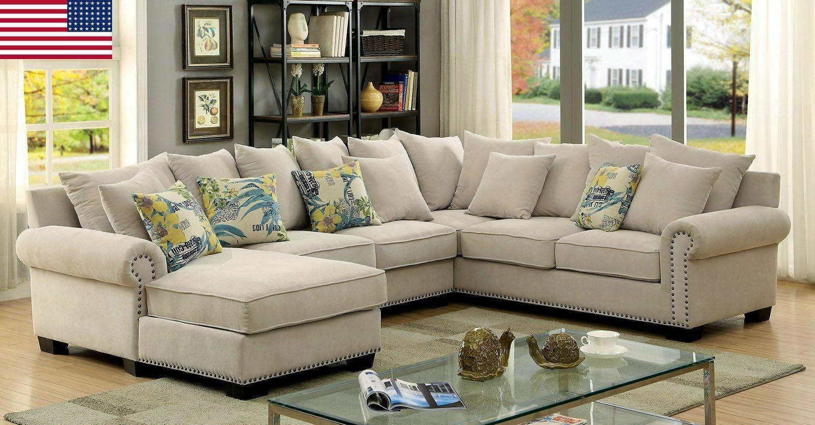 transitional ivory fabric 3pc sectional sofa living