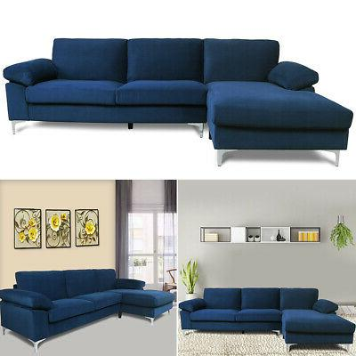 Velvet Sectional Sofa Couch L-Shaped Bed Reclining Modern Navy