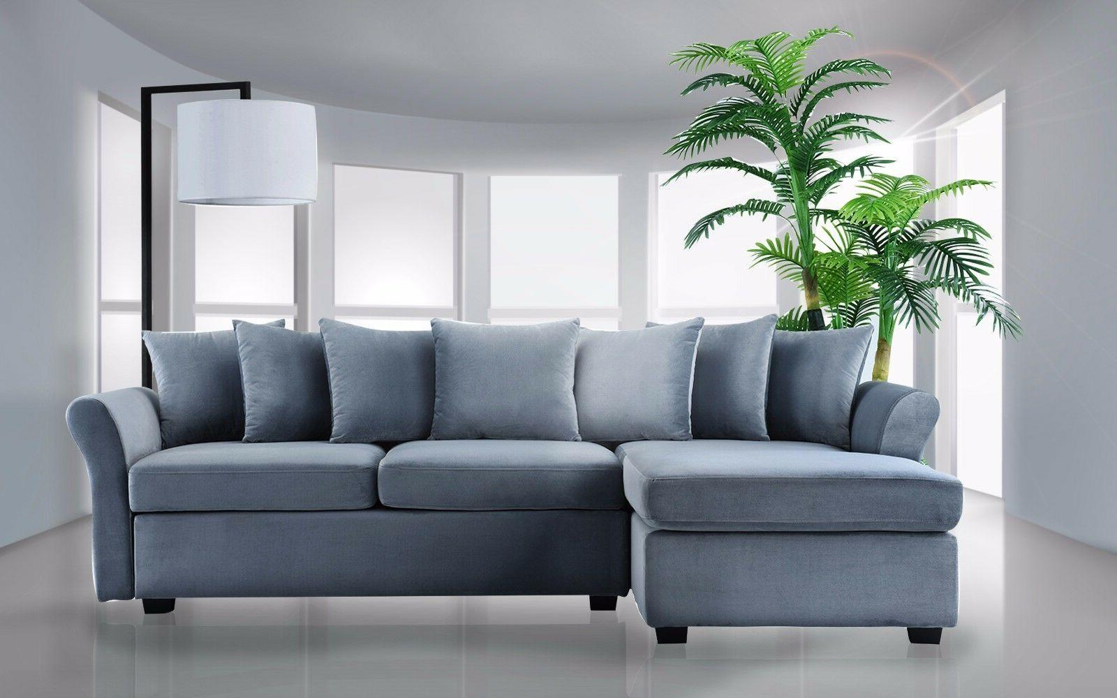 Velvet Sofa L-Shape Classic Couch with