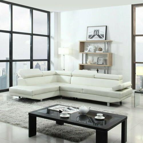 white faux leather sectional sofa foamed filled