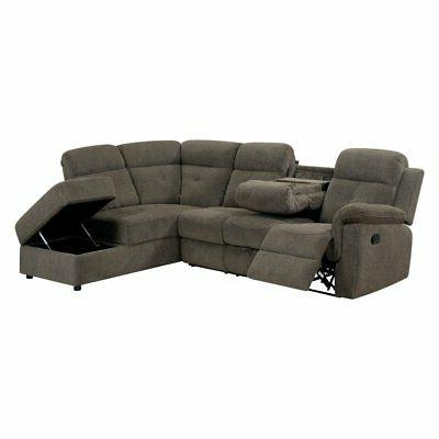 wilding sectional sofa with recliner and storage