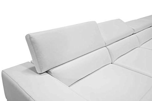 Limari Collection Modern Leather Upholstered & Wood Sofa Room, White