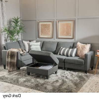 Zahra 6-piece Fabric Sofa Sectional with Storage Ottoman by