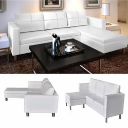 L-Shape Sectional Sofa Couch 3 Seater Leather White Modern L