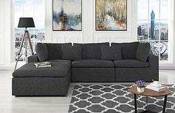 Large Fabric Sectional Sofa, L Shape Couch with Wide Right F