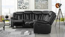 """Large Family Room Upholstered 88.1"""" inch Leather Recliner Se"""