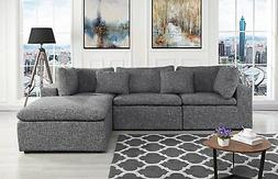 Large Linen Fabric Sectional Sofa, L Shape Couch with Right
