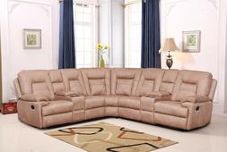 Betsy Furniture Large Microfiber Reclining Sectional Living