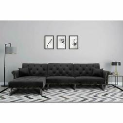 Large Velvet Fabric Sectional Sofa, L-Shape Couch Bed with E