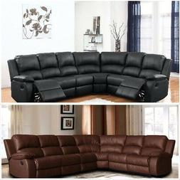 Large Victorian Bonded Leather Reclining Corner Sectional So