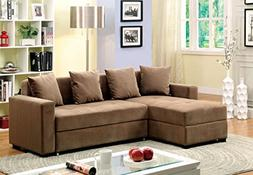 Furniture of America Laurence Sectional Sofa Sleeper with St