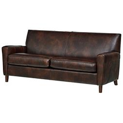 "Rivet Lawson Modern Angled Leather Sofa, 78""W, Driftwood"