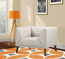 Armen Living LCHU1BE Hudson Chair in Beige Linen Fabric and