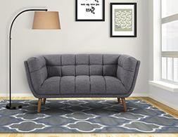 Armen Living LCPH2DG Phantom Loveseat in Dark Grey Linen and