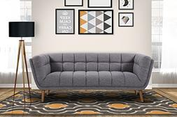 Armen Living LCPH3DG Phantom Sofa in Dark Grey Linen and Bru