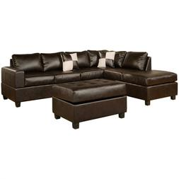 Leather 3 piece sectional sofa set