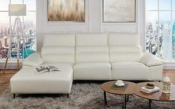 Leather Match Sectional Sofa, L-Shape Couch with Chaise Loun