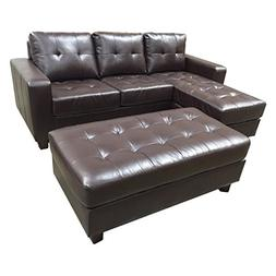 Pemberly Row Leather 3 Piece Reversible Sectional with Ottom