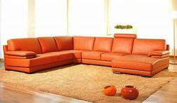Leather Sectional Corner Sofa with Chaise Left VIG Divani Ca
