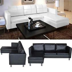 Leather Sectional Sofa 3-Seater L-shaped Chaise Lounge Livin