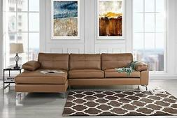 Leather Sectional Sofa, L-Shape Couch with Chaise
