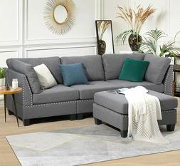 Esright Leather Sectional Sofa L-Shape Large Couch Set W/ Ot