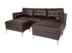 Offex Leather Upholstered Tufted Back Sectional Sofa with Le
