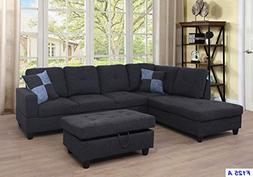 Lifestyle Furniture Left Facing 3PC Sectional Sofa Set,Linen