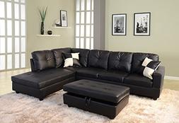 3-Piece Left/Right Hand Facing Living Room Sectional Sofa Se