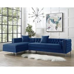 Levi Blue Velvet Chaise Sectional Sofa - 115 Inches Right Fa