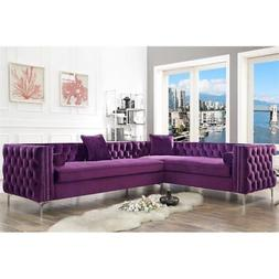 Levi Purple Velvet Corner Sectional Sofa - 120 Inches Left -