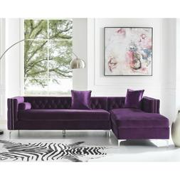 Posh Living Levi Velvet Tufted with Silver Y-leg Chaise Sect