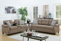 Poundex Light Coffee 2 Pcs Sofa Set with Ottoman