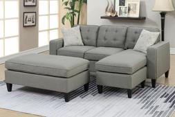 Poundex Light Gray All In One Sectional 3 Pcs Sofa Set with