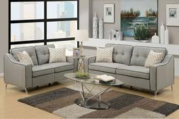 Poundex Light Grey Polyfiber 2 Pcs Loveseat Sofa Set