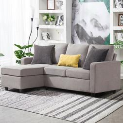 Light Grey Sectional Sofa L-Shaped Couch with Reversible Cha