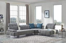 Limari Home LIM-74742 Caprock Sectional Sofa, Gray