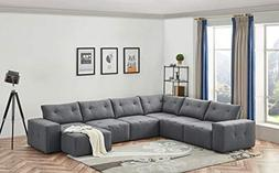 Limari Home LIM-74745 Carfax Modular Sectional Sofa, Gray
