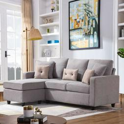 Linen Fabric Convertible Sectional Sofa Couch L-Shaped Sofa