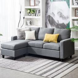 Linen Fabric Small Space Sectional Sofa L-Shaped Couch W/Rev