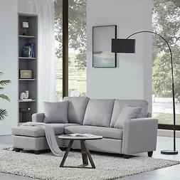 Linen/ Faux Leather Sectional Sofa, L shaped Couch 3-Seat W/