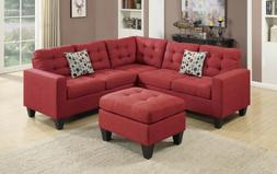 Living Room 4 Pieces Sectional Carmine Polyfiber Sofa Set wi