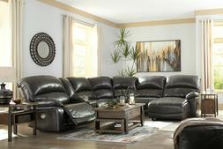 Living Room 6 piece Sectional - Gray Leather Power Reclining