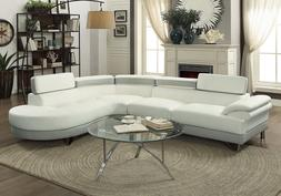 Living Room Curved Sectional Sofa Couch Round Chaise White P