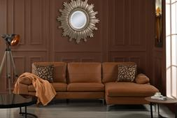 Living Room Family Room Leather Sectional Sofa L-Shape Couch